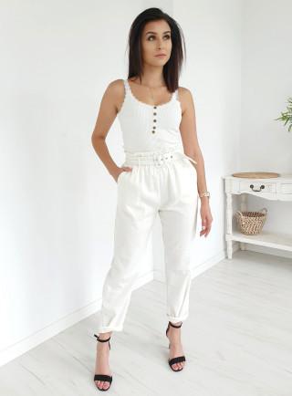 Spodnie lniane CAN białe
