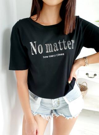T-Shirt MATTER czarno-srebrny
