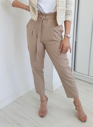 Spodnie lniane KLARKO beż