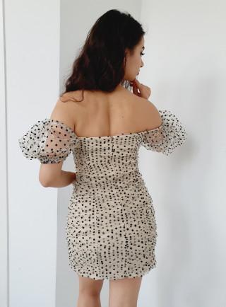 Sukienka STAR grochy beż
