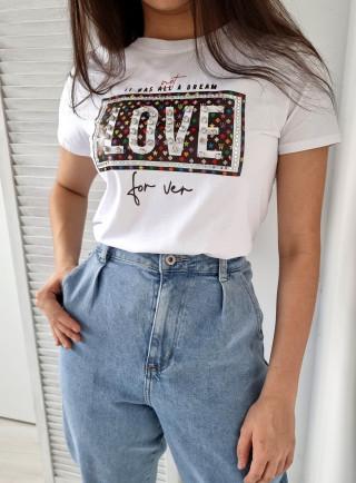 T-shirt Amore biały