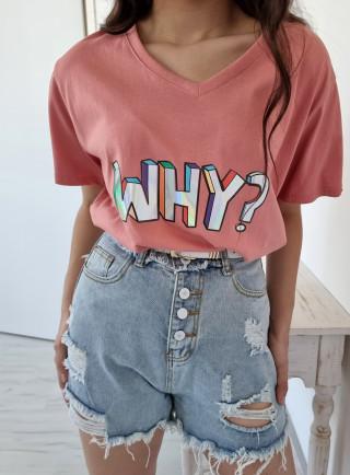 T-shirt WHY różowy