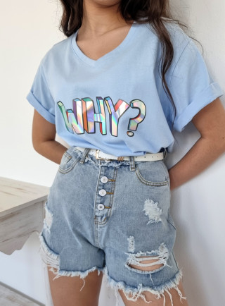 T-shirt WHY niebieski
