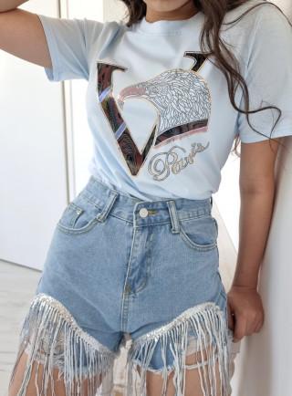T-shirt PARIS niebieski