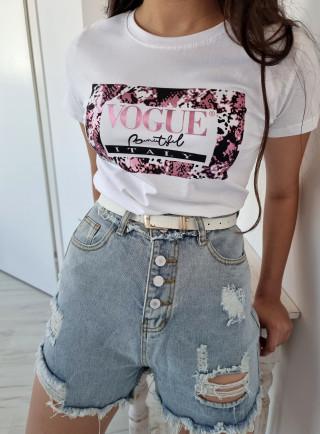T-shirt VOGUE biało-różowy