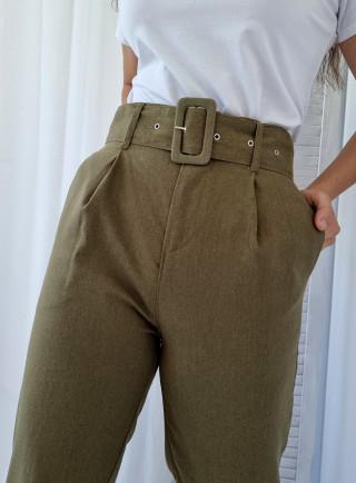 Spodnie GRANO len khaki