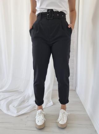Spodnie GRANO len czarne