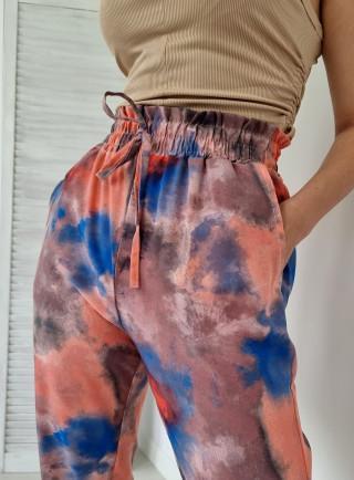 Spodnie haremki TIE DYE beżowe