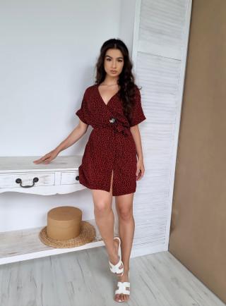 Sukienka cętki LEOPARDO czerwona