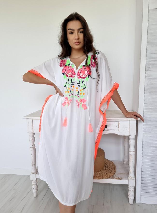Sukienka kwiaty CHERRY zółta