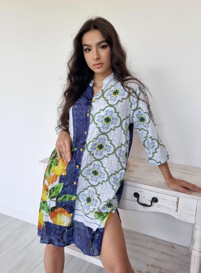 Bawełniana sukienka KEUS granat