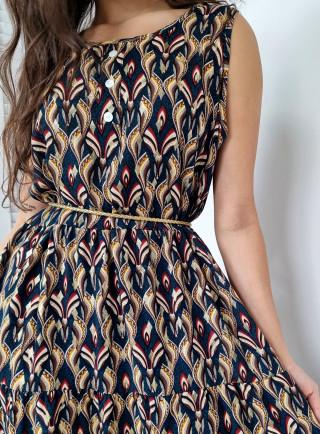 Sukienka midi wiskoza ADDA niebieska