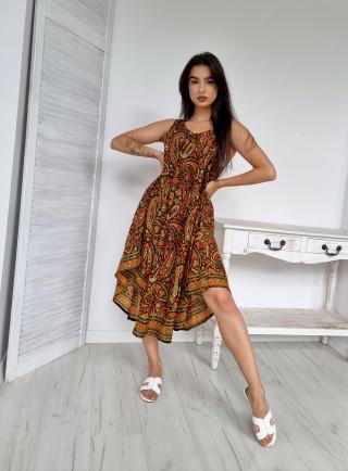 Sukienka jedwab asymetryczna NERA brązowa