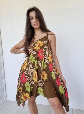 Sukienka asymetryczna jedwab DOMENICA multikolor