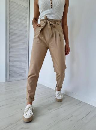 Spodnie len BALDO  beżowe