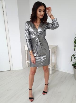 Sukienka METALLIC srebrna
